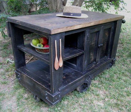 Rolling Cart Kitchen Distressed Black Age Island
