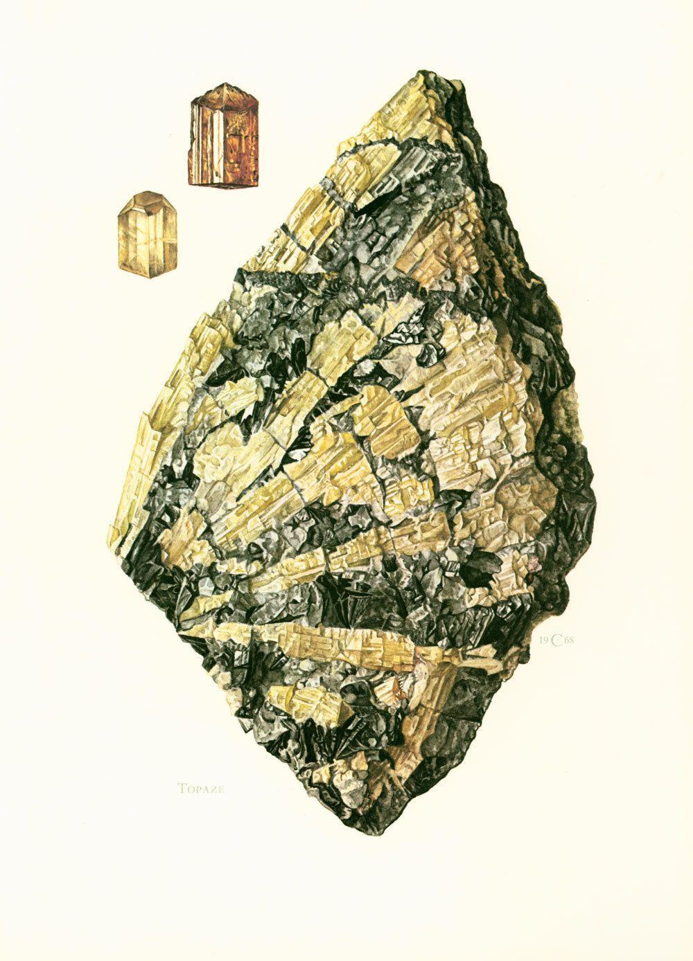 1970 Golden Topaz Gem Print. Jewelry illustration. Minerals Wall Art ...