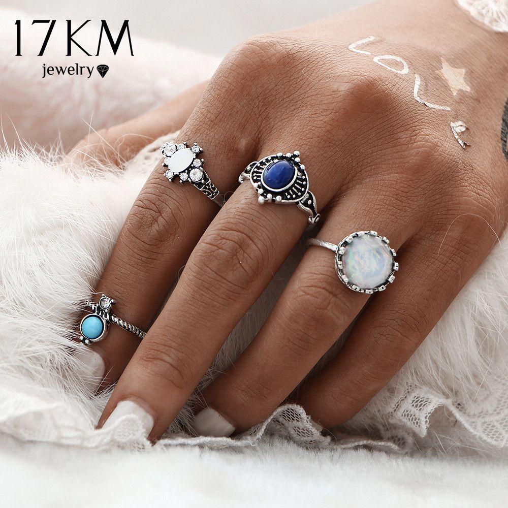 17 KM Mode Nieuwe 4 stks/set Zilveren Kleur Steen Midi Ring Sets voor Vrouwen Boho Strand Vintage Turkse Punk Knuckle Ring Sieraden