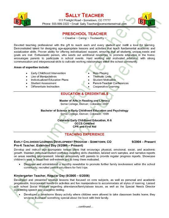 Resume For Preschool Teacher Preschool Teacher Resume Sample  Curriculum Vitae Examples