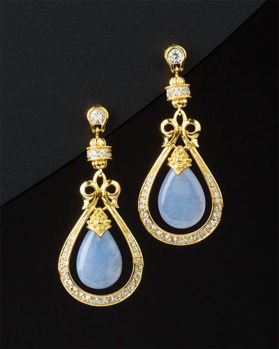 90c11f9a2abda Scott Kay 'Earrings' 18K Over Silver & Chalcedony & Sapphire ...