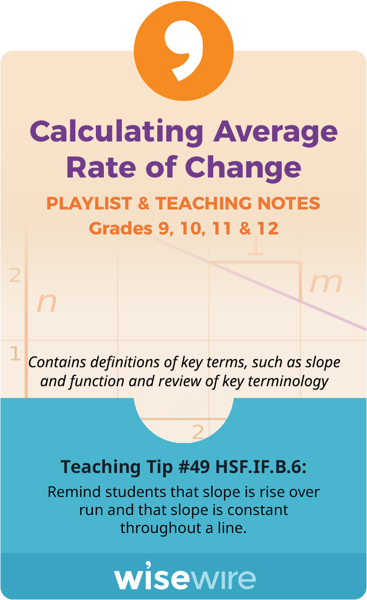 Calculating Average Rate of Change – Playlist and Teaching Notes