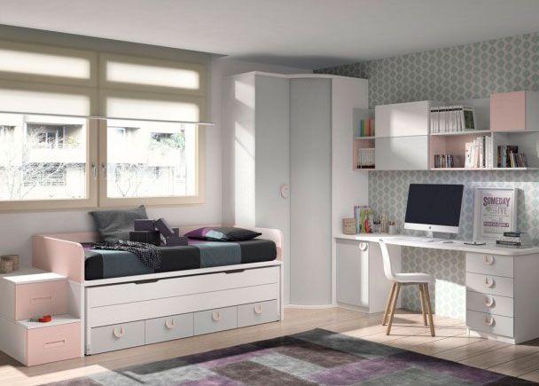 Dormitorio infantil con 2 camas y armario en chafln