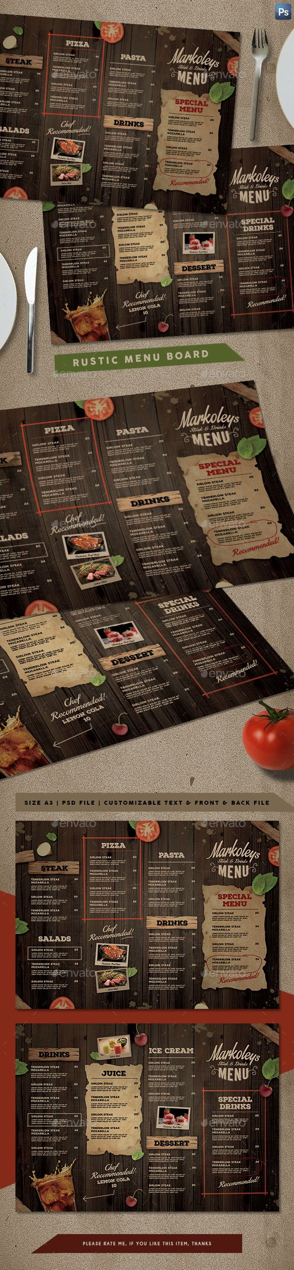Rustic Cafe Menu Board | Diseño de menu, Restaurante y Identidad visual