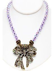 Kirks Folly TIE THE KNOT BOW MAGNETIC INTERCHANGEABLE NECKLACE brasstone ~
