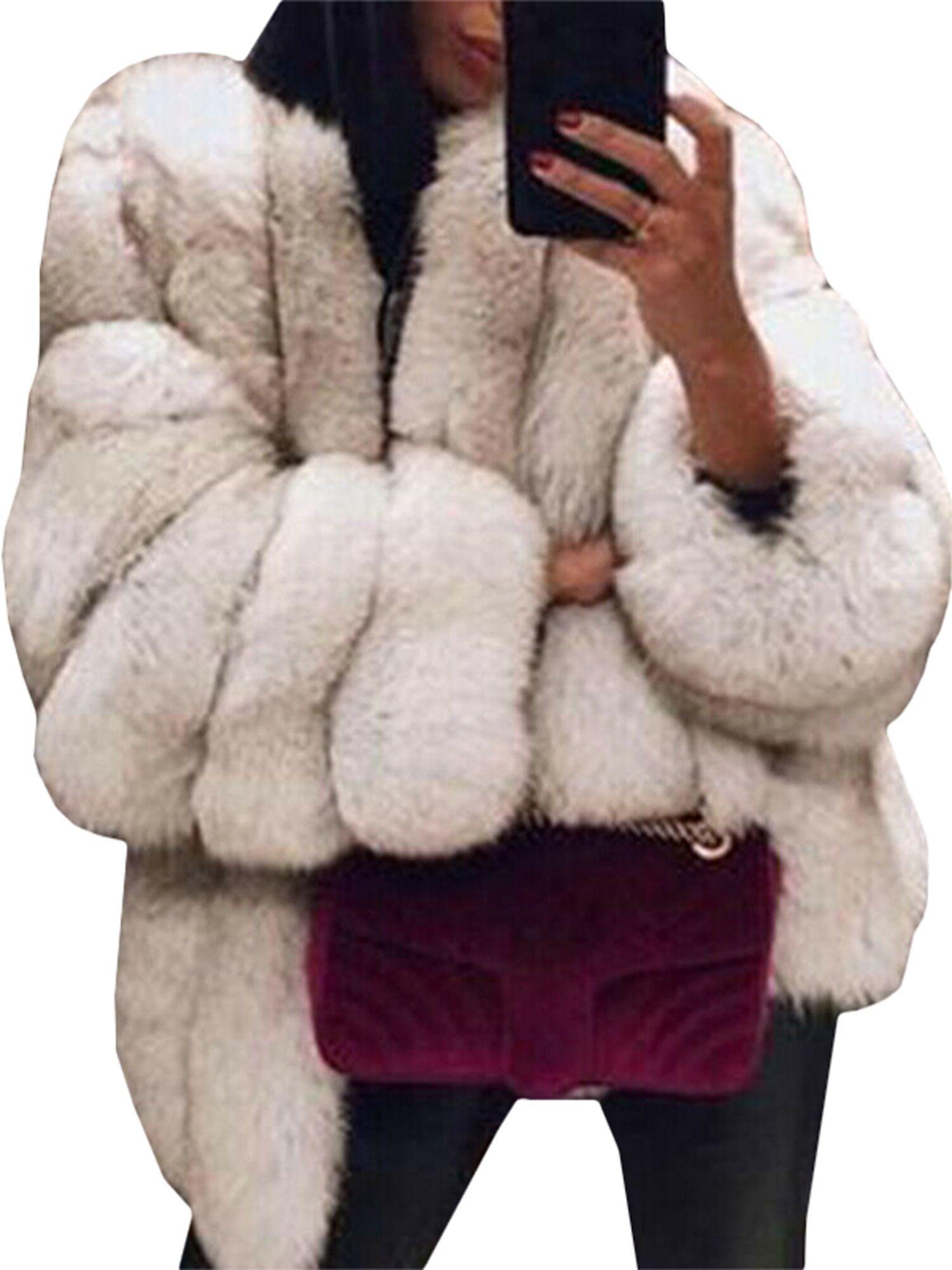 Wodstyle Women S Faux Fur Jacket Coat Winter Warm Thick Party Fluffy Tops Plus Size Walmart Com Faux Fur Jackets Women Womens Faux Fur Coat Fur Coat [ 2000 x 1500 Pixel ]
