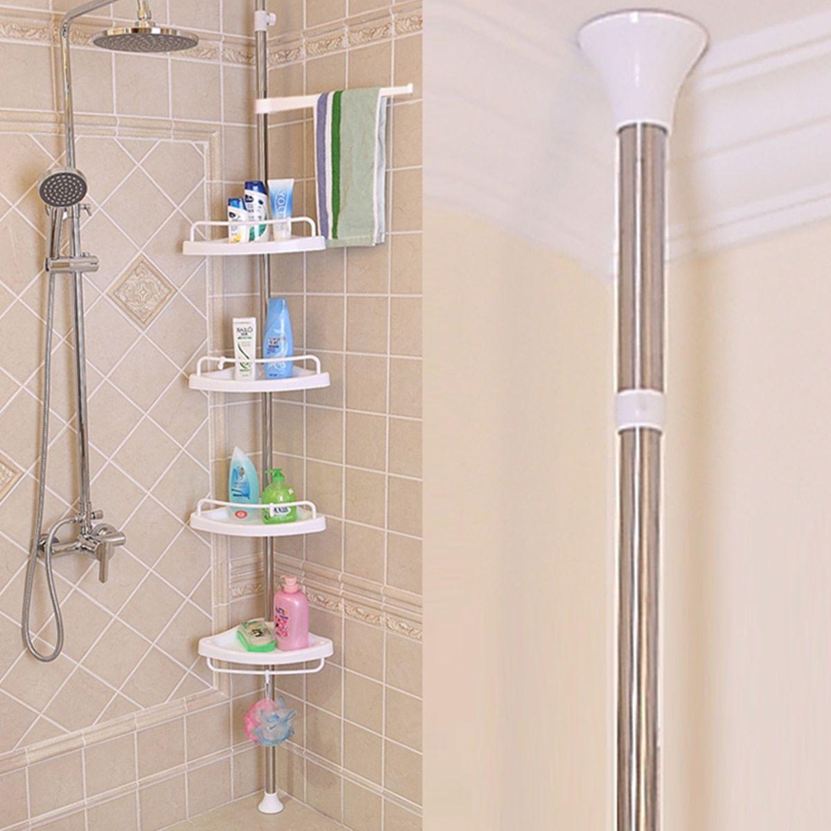 Free Standing 4 Tier Adjustable Bathroom Shower Caddy Corner Shelf