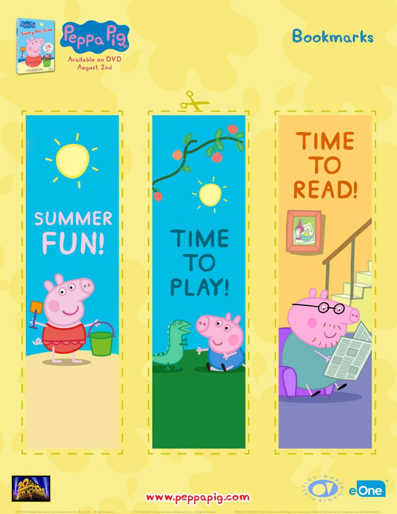 free peppa pig bookmarks printable coloring pages crafts u0026 more