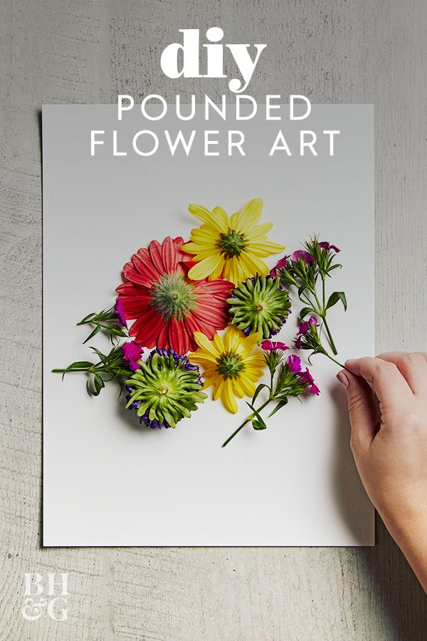 This easy pounded flower art technique makes it so easy to transfer bright flower blooms onto watercolor paper. We love this technique to create custom art decor. Learn how to make this easy pounded flower art. #poundedflowerart #preserveflowers #flowercrafts #diy #craftideas #bhg