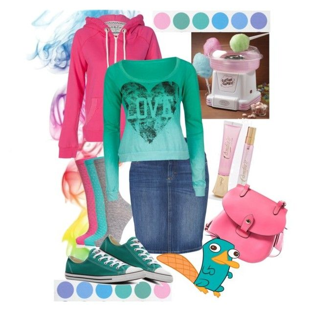 """""""cotton candy"""" by dee94 ❤ liked on Polyvore featuring Nostalgia Electrics, Accessorize, Candie's, Closed, Dooney & Bourke, Converse and Full Tilt"""