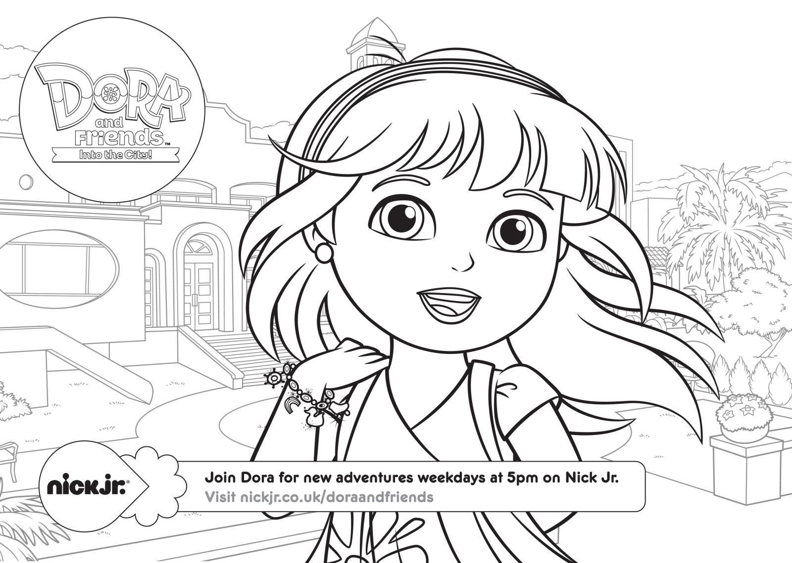 dora in the city coloring pages dora