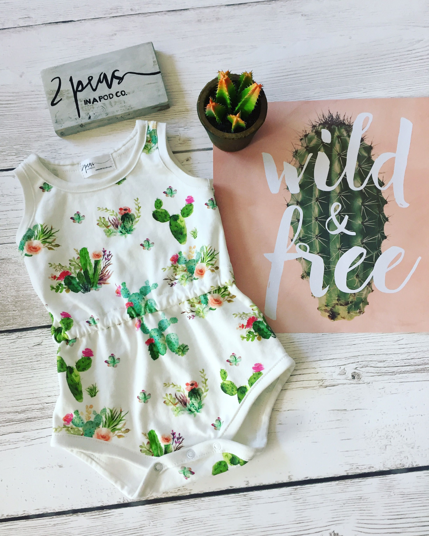 Baby Toddler Girl Romper Blooming Cactus Boho Baby Romper