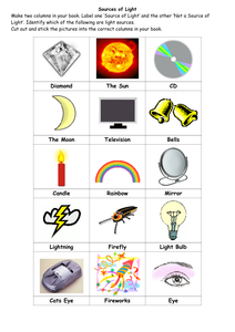 Light And Sound Worksheets For Year 1