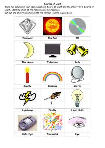 Light Science Worksheets Light Science Science Worksheets Kindergarten Math Worksheets