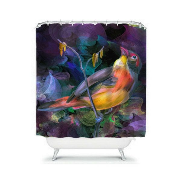 Beautiful Painted Bird Shower Curtain by FolkandFunky on Etsy