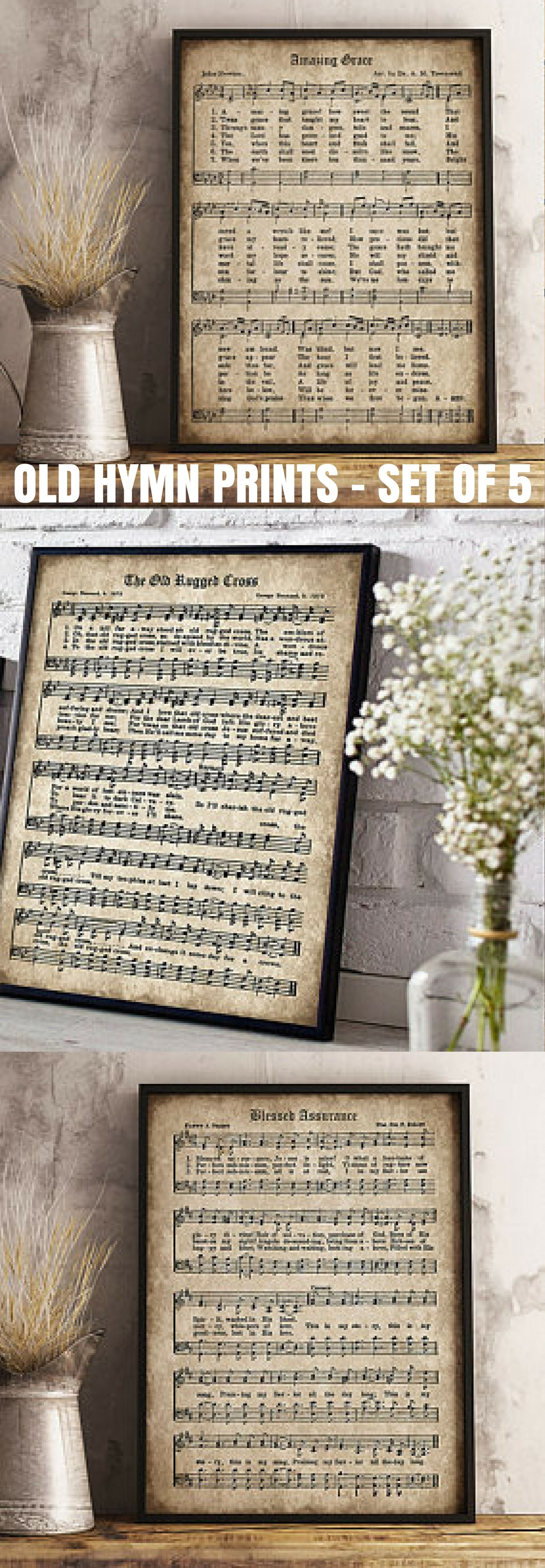Old Hymn Print Set Of 5 Printable Vintage Sheet Music