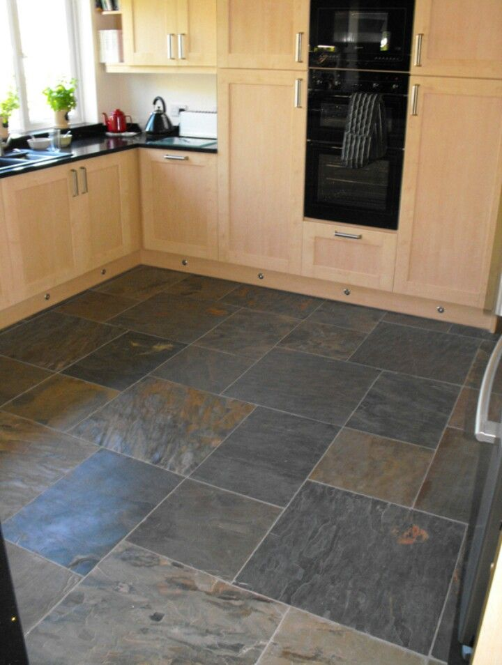 Like The Contrast Of This Tile With Pine Cabinets Slate