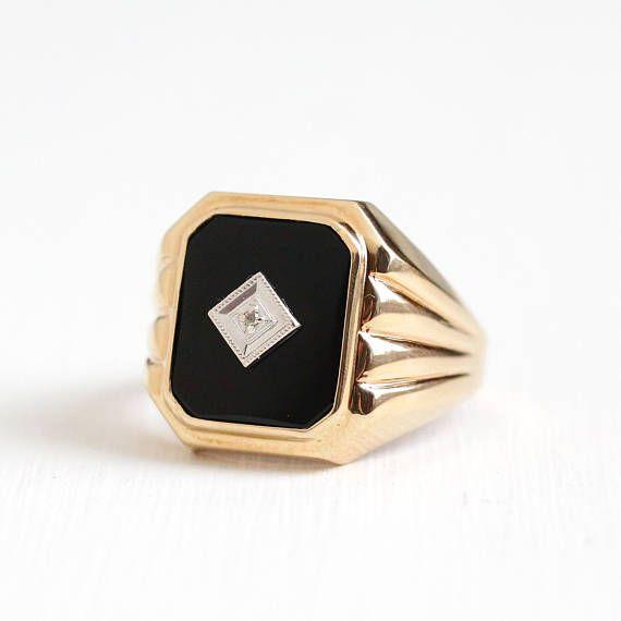 Vintage 10k Rosy Yellow Gold Diamond Onyx Ring Mid Century 1940s Size 10 1 4 Black Gemstone Fine Men S Or Women S Statem Wax Ring Black Gems Enamel Jewelry