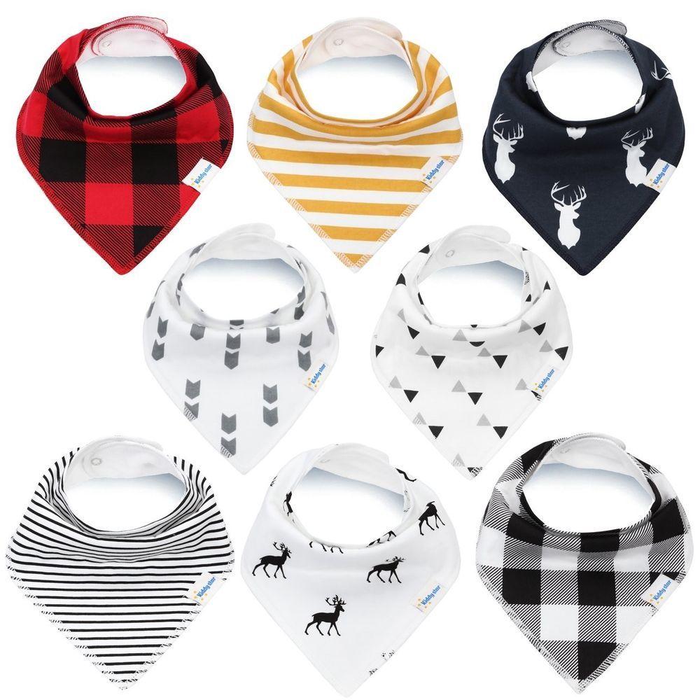 8 Baby Bandana Dribble Drool Bibs Boys Girls Cotton Teething Feeding Infant Gift