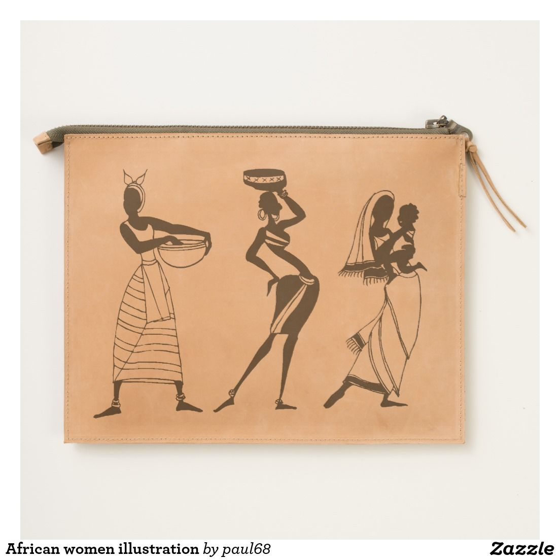 African women illustration travel pouch