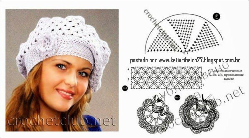 Boinas, gorros em crochê com gráfico | GORROS INVERNO | Pinterest ...