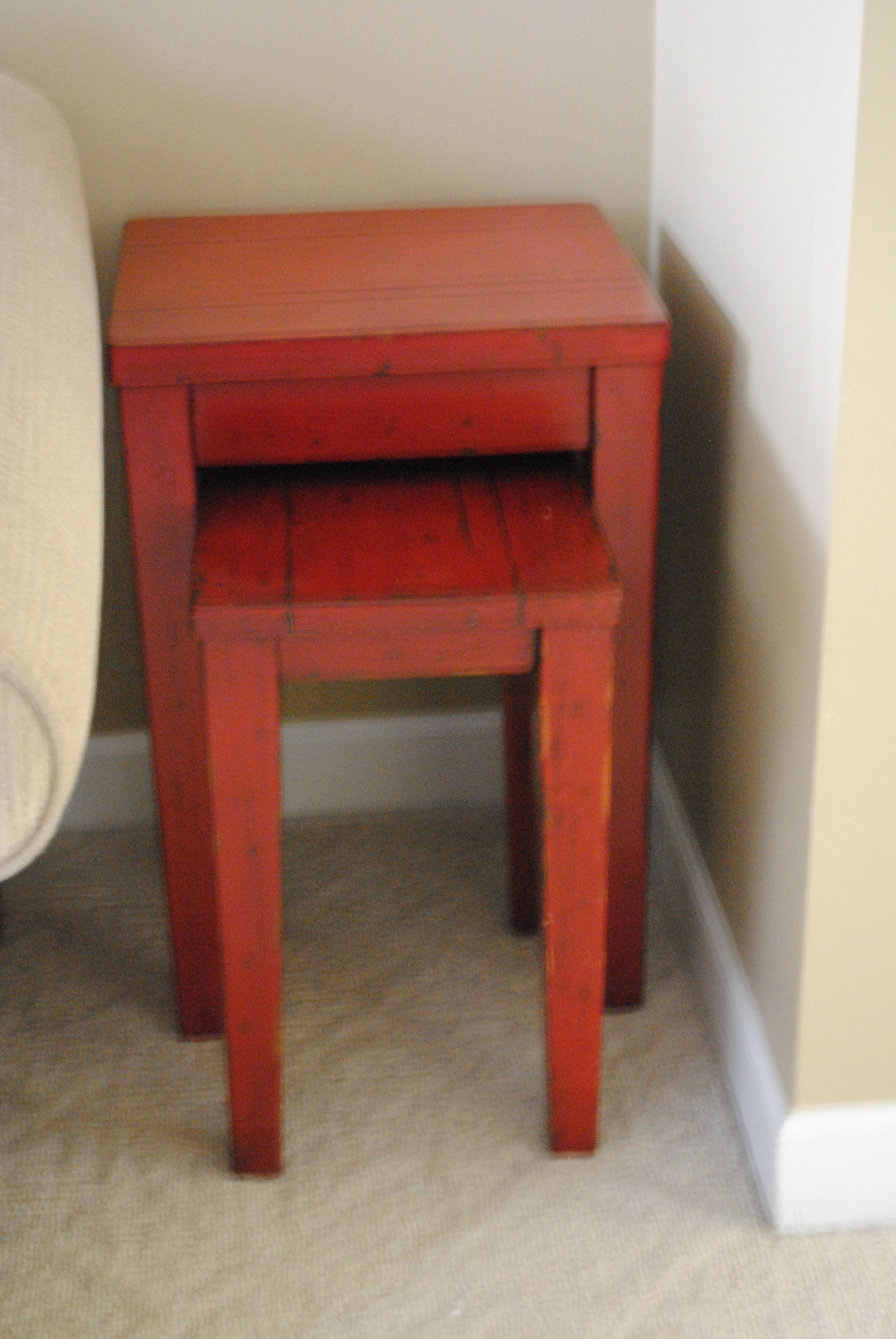 Pottery Barn Red Nesting Tables Set Of Two Upstairs