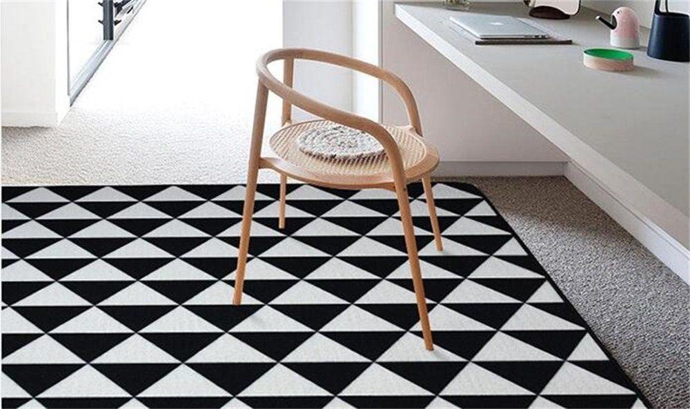 Tappeti Area Moda e Soggiorno Mat Moderno Nero Bianco Nero