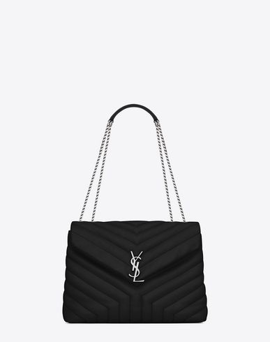 SAINT LAURENT Medium Loulou Chain Bag In Black