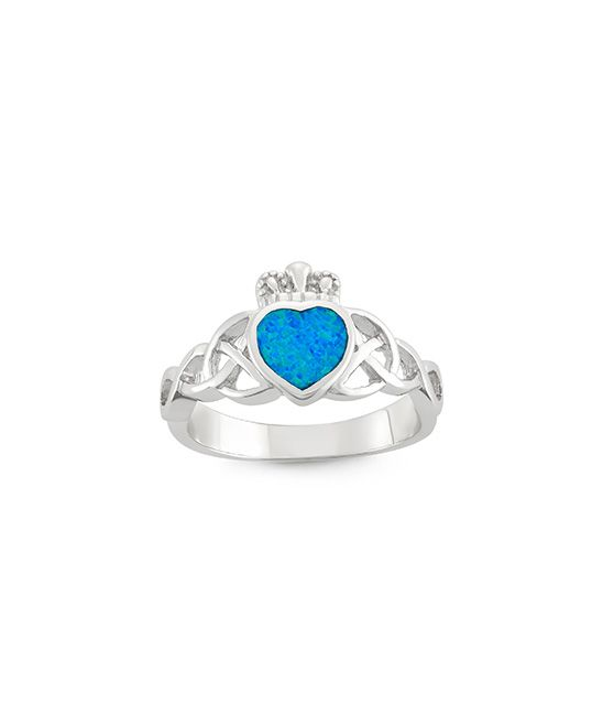 Blue Opal & Sterling Silver Claddagh Ring