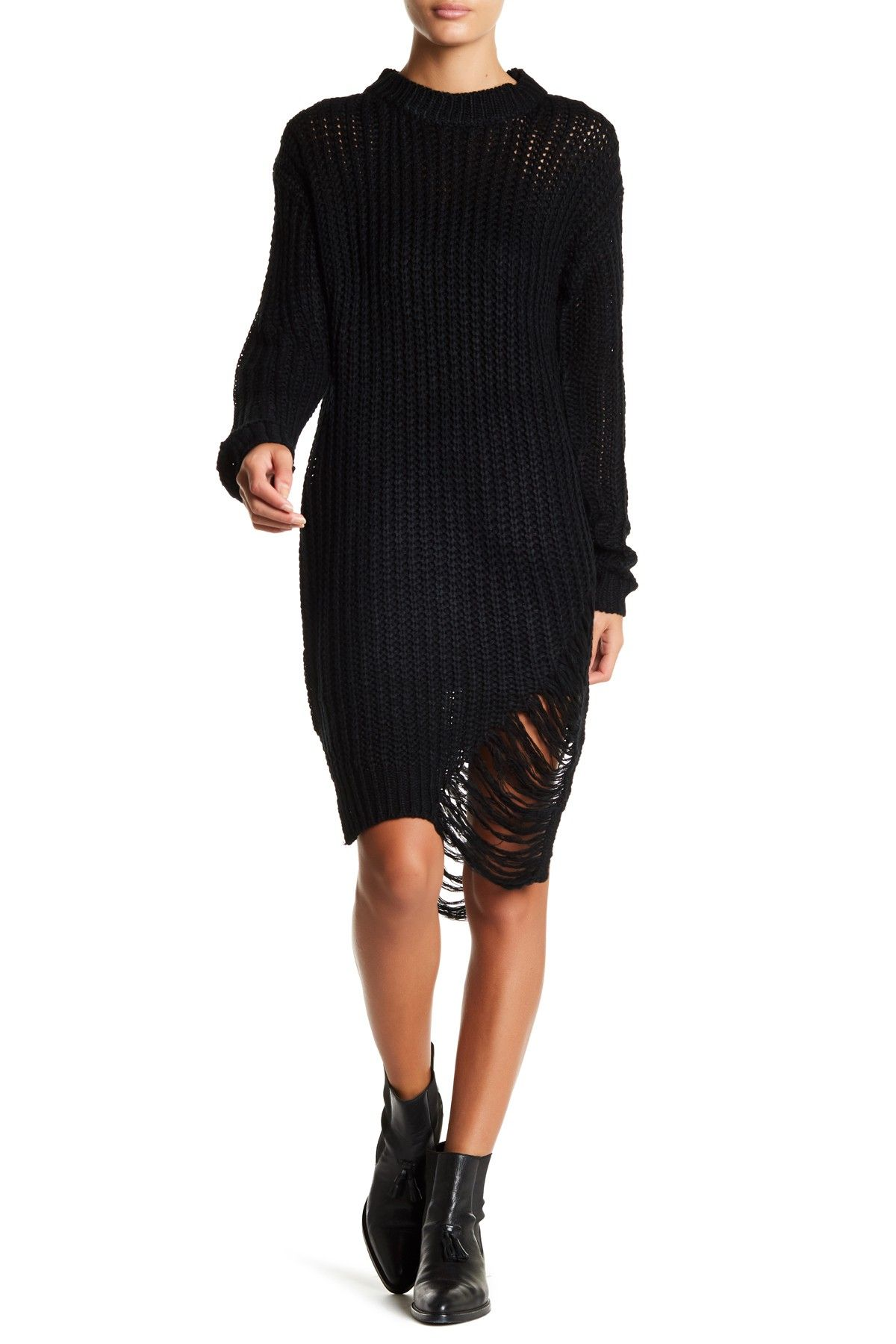 eecc22be40 Distressed Knit Sweater Dress by Solutions on  nordstrom rack ...
