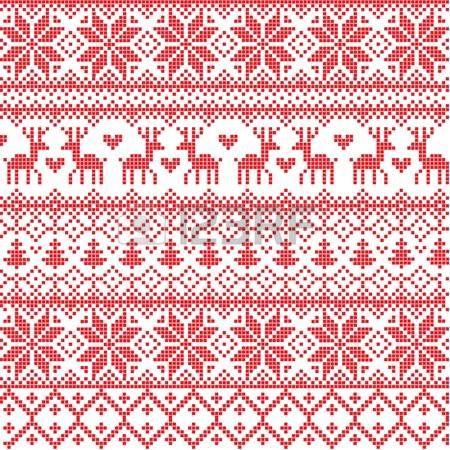 Illustriert traditionellen roten Nordic Muster photo | Stricken und ...