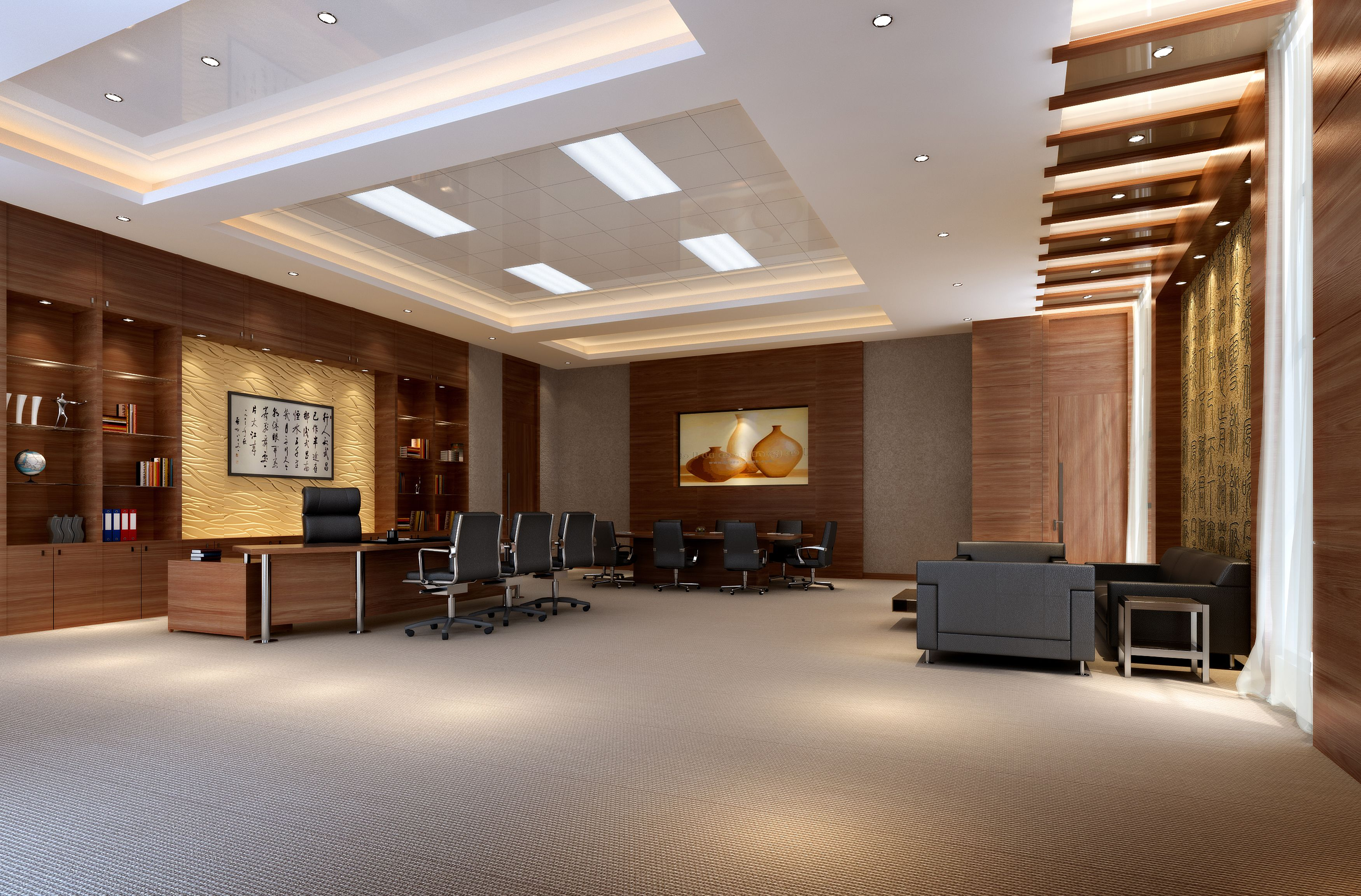 Office 023 3d model highly detailed hi tech photorealistic interior scene rendered with vray and 3ds max 2009 photometric lights in the scene