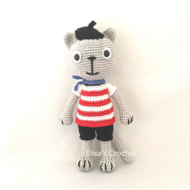 CROCHET PATTERN MARCEL the French Cat amigurumi doll