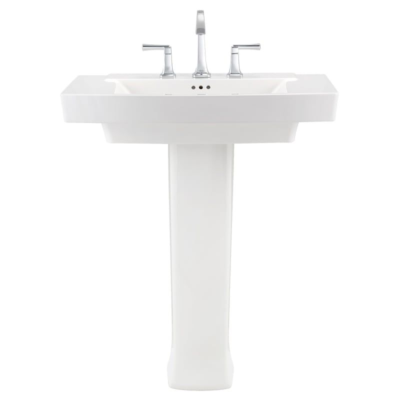 "American Standard 0328800.020 White Townsend 30"" Fireclay Pedestal Bathroom Sink with 3 Faucet Holes at 8"" Centers and Overflow - Includes Right Height® Pedestal"