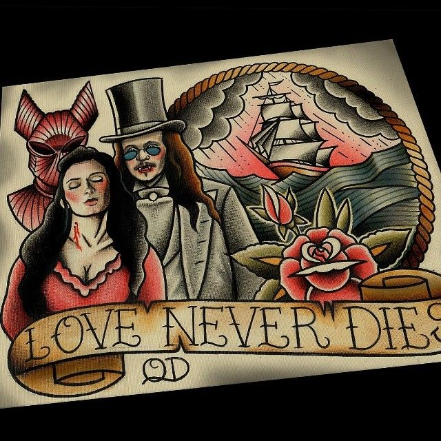 Love Never Dies, now in the shop #bramstokers #dracula #tattooflash #horror #horrorfilms