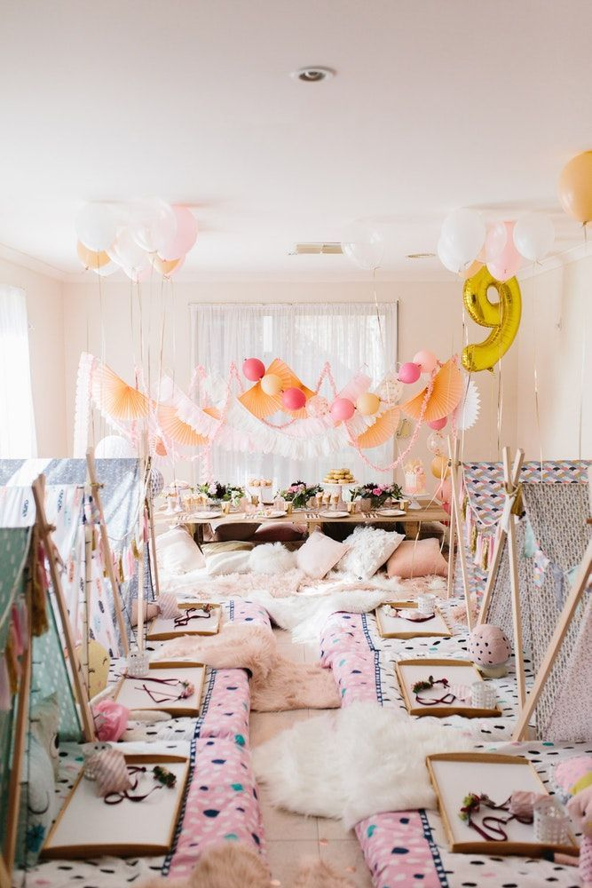 Boho Slumber Party Peach Pinch And White Slumber Party