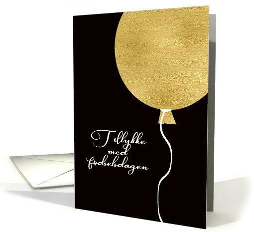 Happy Birthday In Danish, Gold Glitter/Foil Effect Balloon