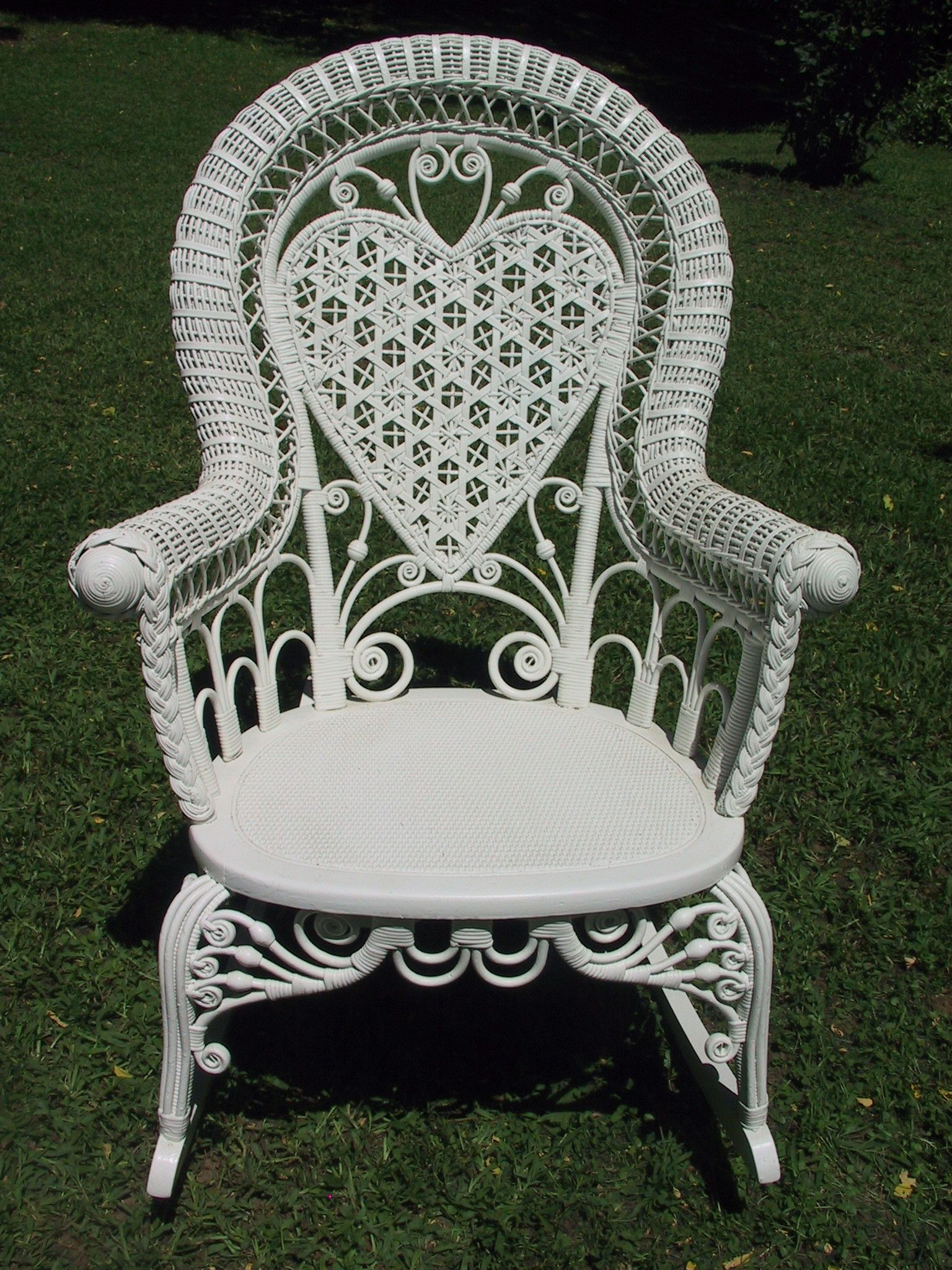White Wicker Rocking Chair Heart Wicker Rocker