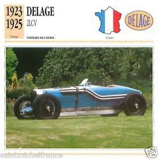 DELAGE  2LCV 1923 1925  CAR VOITURE FRANCE CARTE CARD FICHE