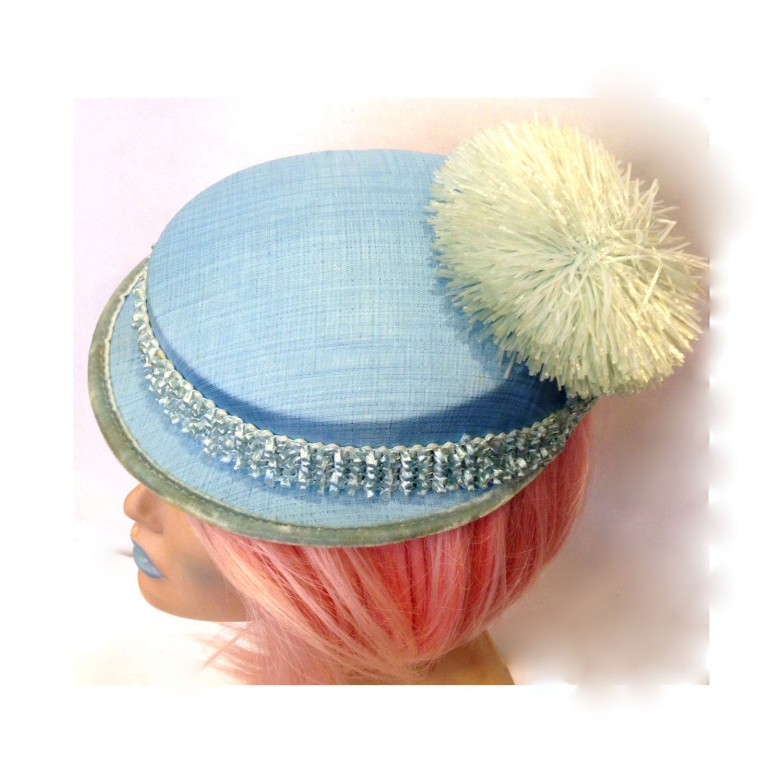 1950s Small Light Blue Straw Fascinator Hat,Small Brim,Velvet Trim,Straw & Rope Crochet Band,Big Pom Pom,Pinup,Retro,Bride,Bridal,Wedding by VintageDoylestown on Etsy