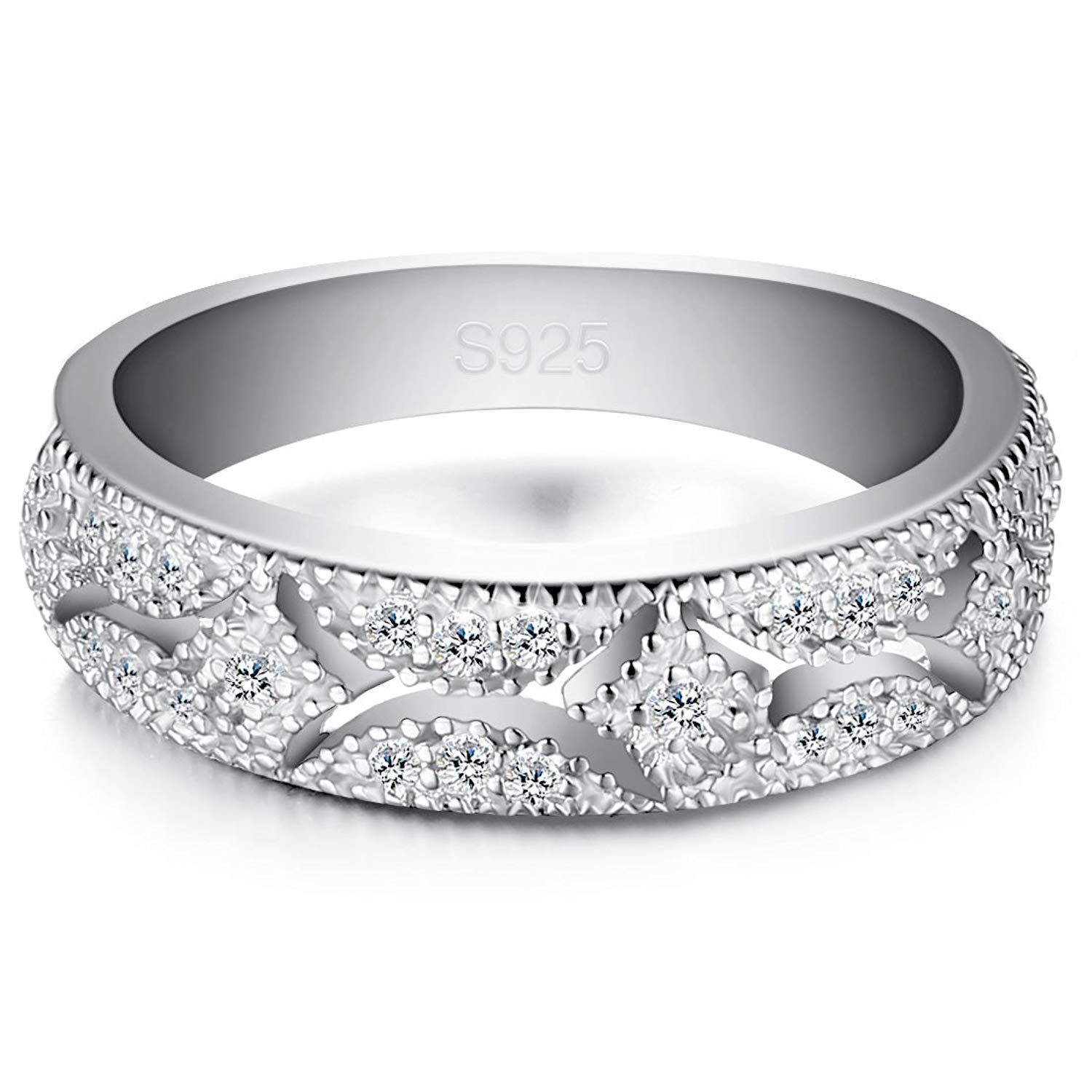 Women Wedding Promise Rings For Her Engagement Bands CZ