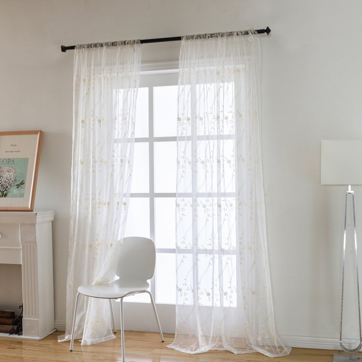 Wave Pattern Floral Embroidered Semi Sheer Curtains For Living