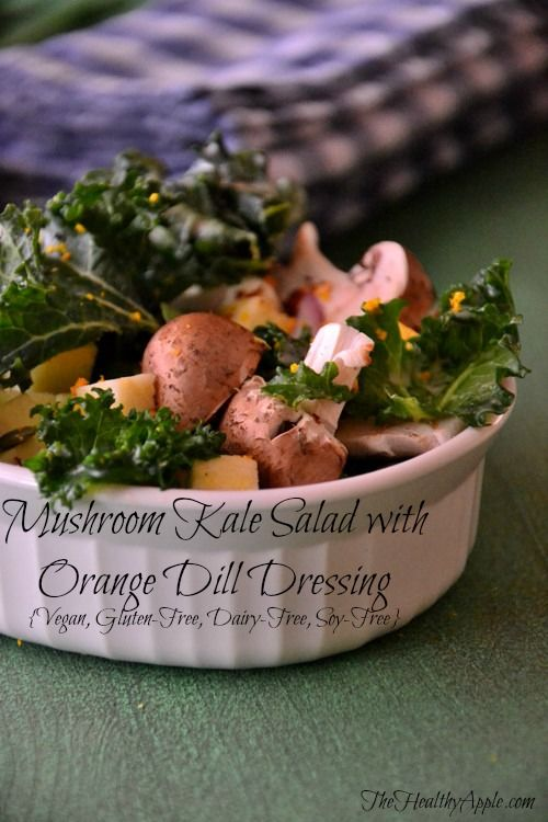 Mushroom Kale Salad with Orange Dill Dressing {Gluten-Free, Dairy-Free, Vegan} #glutenfree
