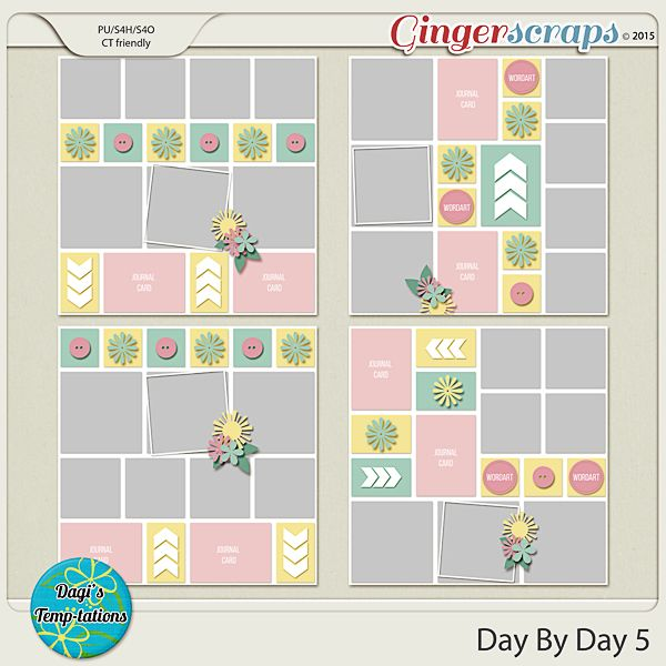 Day By Day   Scrapbook  Page Templates