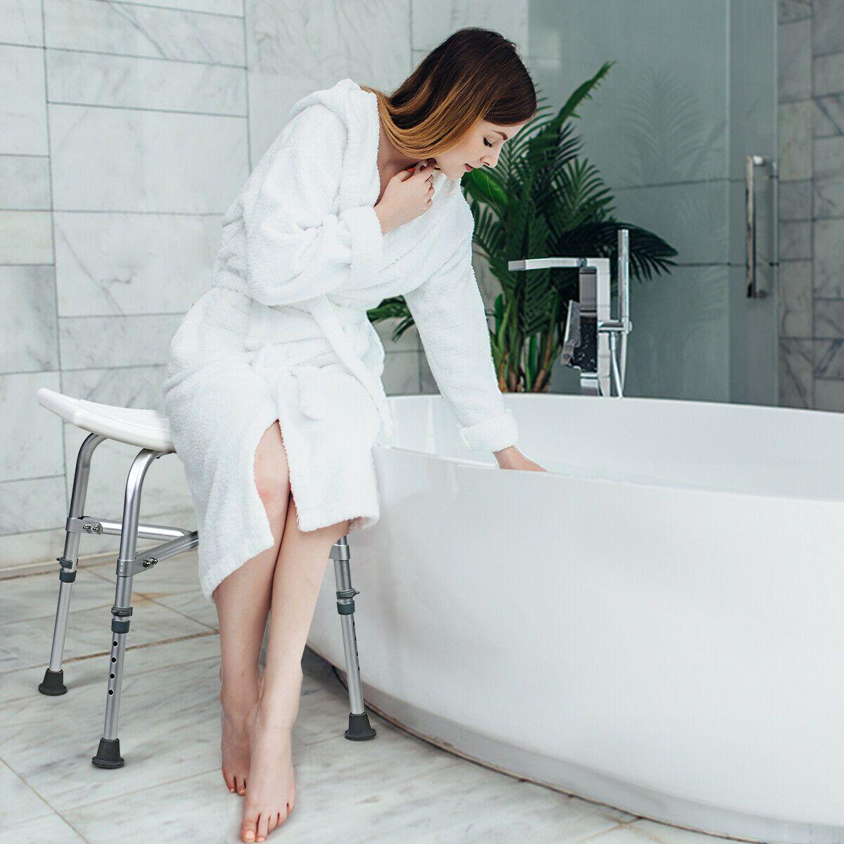 Shower Stool 6 Adjustable Height Xshaped Frame NonSlip