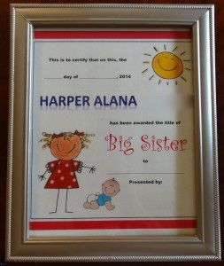 Big Sister Certificate (Template) | For the girls | Pinterest ...