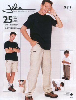 """Jaile 977 Two in one cargo pants (Pattern discontinued - look for second hand?) Pattern Description: Two in one cargo pants with zip-off legs. Pattern Sizing:childs size 2 to Adult 4X (74""""height)."""