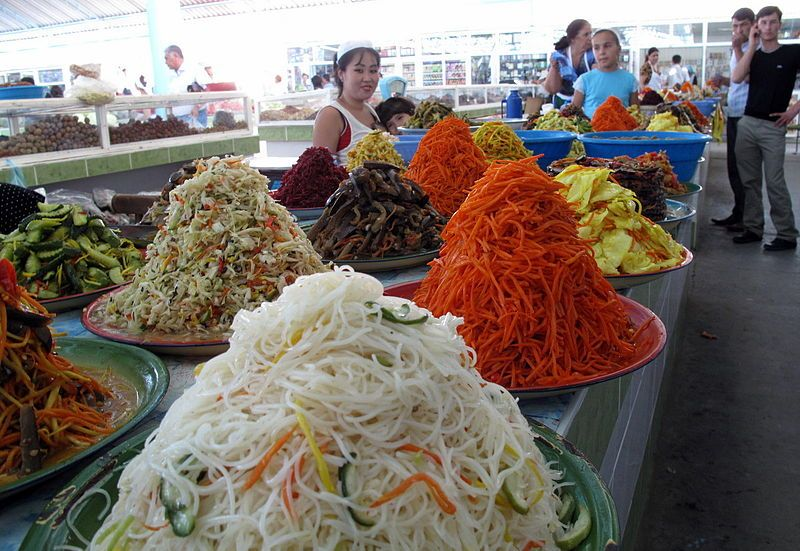 Turkmenistan Food | Bazar in Turkmenbashi. Photo by Peretz Partensky.