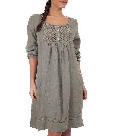 Another great find on #zulily! Khaki Lauren Linen Dress #zulilyfinds