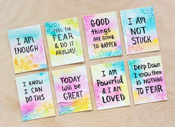 Diy Watercolor Affirmation Cards Play Therapy